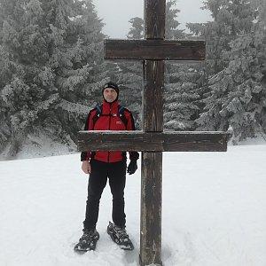 Jiří P na vrcholu Veľký Javorník (9.2.2019 11:30)