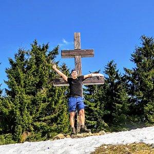 Jan Rendl na vrcholu Veľký Javorník (31.3.2019 15:05)