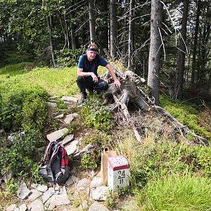 Pavel a Lukáš na vrcholu Burkův vrch - Z vrchol (19.8.2019 11:44)