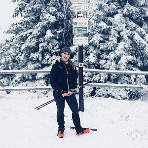 Monča Čaganová na vrcholu Radhošť (13.1.2018 12:00)