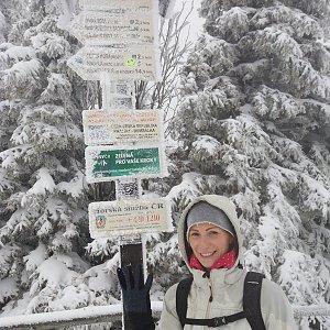 Aneta Gabzdylová na vrcholu Radhošť (7.2.2020 13:03)