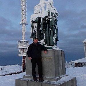Michael na vrcholu Radhošť (10.1.2021 7:27)