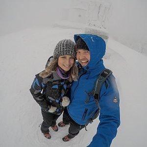 Naděnka a Adam na vrcholu Radhošť (6.1.2019 11:00)