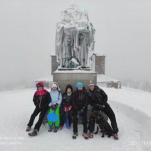 Petr Loskot na vrcholu Radhošť (16.1.2021 1:05)