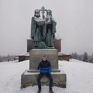 Petr Bartoň na vrcholu Radhošť (6.2.2021 15:58)