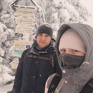 Markéta Čeníková na vrcholu Radhošť (13.2.2021 12:30)