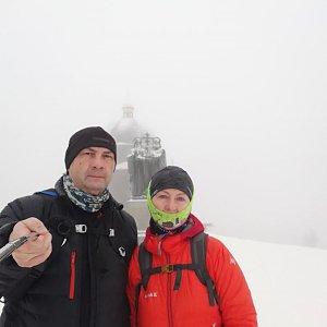 Dana + jirka na vrcholu Radhošť (7.2.2021 8:50)