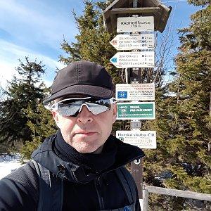 Pavel Skřičík na vrcholu Radhošť (17.3.2019 13:42)