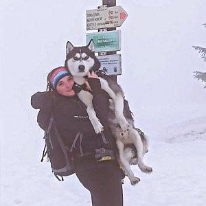 Nikol Podesvova na vrcholu Mravenečník (23.1.2021 16:00)