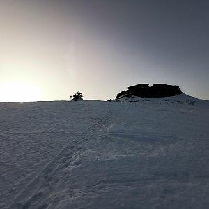 Martin Horáček na vrcholu Petrovy kameny (23.2.2021 16:20)