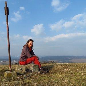 Iveta Válová na vrcholu Bienertův vrch (25.3.2021)