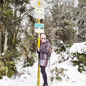 Pavlína Sýkorová na vrcholu Radegast (4.1.2020 11:35)