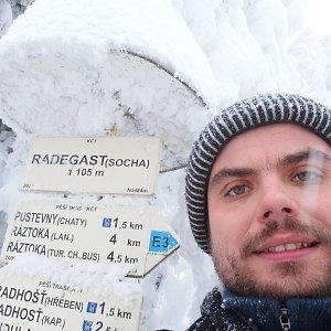 Jiří Chmiel na vrcholu Radegast (13.1.2019 12:47)