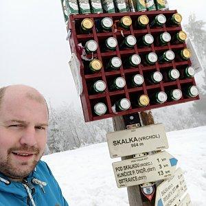 Petr Petrik na vrcholu Skalka (1.3.2021 15:15)