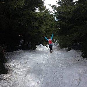 Paula Siudová na vrcholu Malý Travný (9.3.2019 10:30)