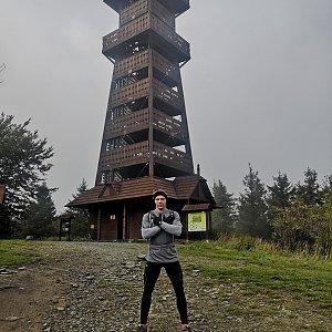 Tomáš Vašíček na vrcholu Velký Javorník (6.10.2019 13:41)