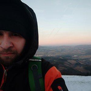 Vašek Bauer na vrcholu Velký Javorník (15.1.2020 16:05)