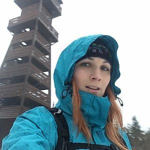 Kačaba Mikulenková na vrcholu Velký Javorník (28.1.2018 16:00)