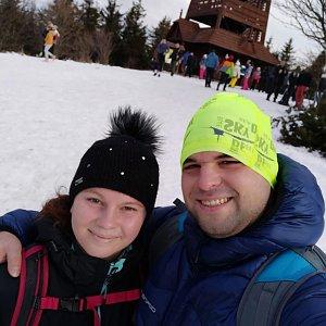 Veronika Hronková na vrcholu Velký Javorník (2.1.2021 12:45)