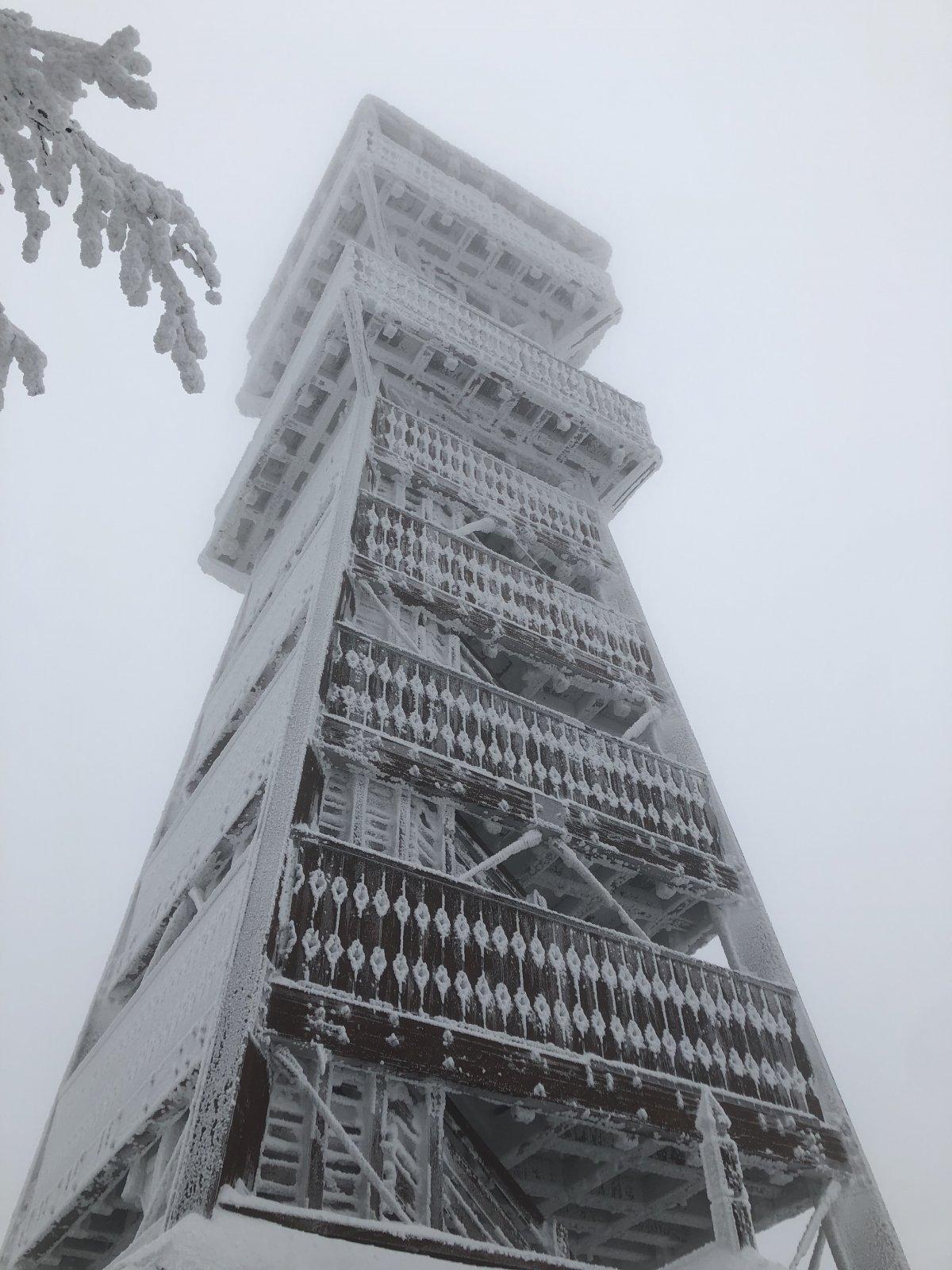 Zuzka Beyerová na vrcholu Velký Javorník (13.1.2019 14:00)