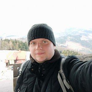 Martin Hruzík na vrcholu Velký Javorník (23.2.2019 13:43)