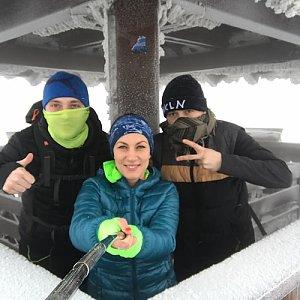 Barbora Dreslerová na vrcholu Velký Javorník (18.2.2018 8:50)