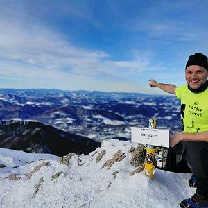 Václav Skuplík na vrcholu Veľký Rozsutec (2.1.2020 12:38)